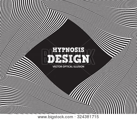 Abstract Optical Illusion. Hypnosis Curved Spiral Design Concept For Hypnosis, Infinity, Unconscious