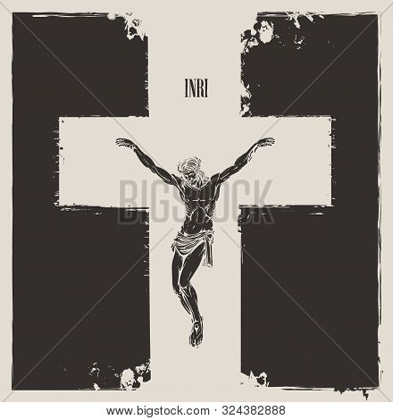 Vector Banner On The Religious Theme With Crucifixion. Abstract Religious Illustration With Crucifie