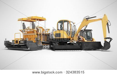 Concept Road Machinery Paver Excavator Small Loader 3d Render On Gray Background With Shadow