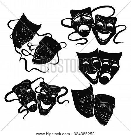 Tragedy And Comedy Theater Masks Set. Collection Of Theater Masks. Black And White Illustration Of C