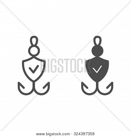Fishhook Line And Glyph Icon. Bait Checked Vector Illustration Isolated On White. Verified Fishing T