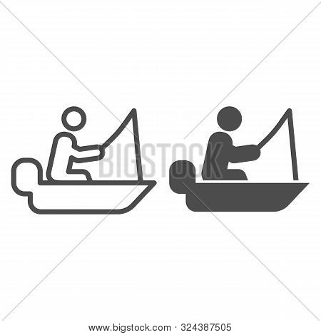 Man Cath Fish On Fishing Rod Line And Glyph Icon. Boat With Fisherman Vector Illustration Isolated O