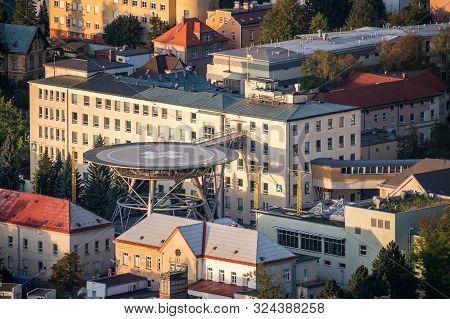 Regional Hospital In Liberec City On Aerial Photo