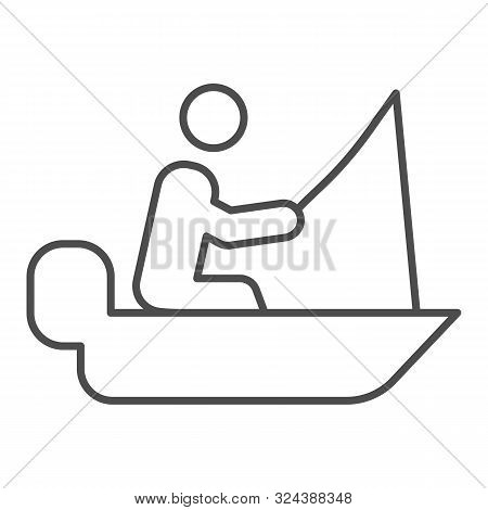 Man Cath Fish On Fishing Rod Thin Line Icon. Boat With Fisherman Vector Illustration Isolated On Whi