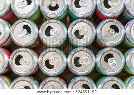 Empty Soft Drink, Beer Can Closeup Pattern