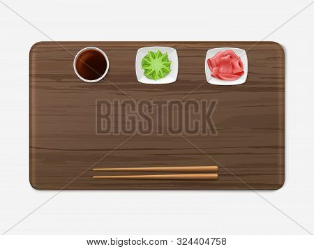 Sushi Tray With Condiments Set Top View. Wooden Salver With Chopsticks, Soy Sauce, Marinaded Ginger,