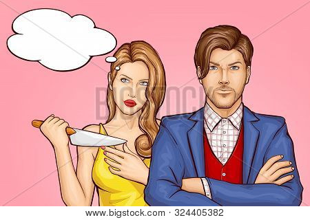Killer Wife With Kitchen Knife Standing Behind Husband. Jealousy Woman Pondering, Planning Boyfriend