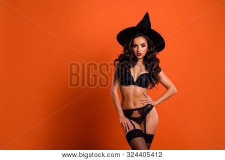 Photo Of Beautiful Half-naked Fit Lady With Wavy Long Curls Teasing Boyfriend In Fall Mystical Holid