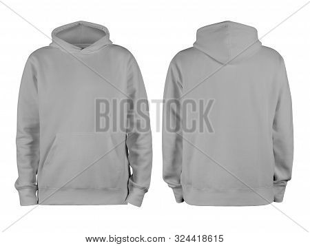Men Grey Blank Hoodie Template,from Two Sides, Natural Shape On Invisible Mannequin, For Your Design
