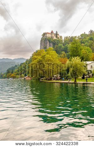 Bled,slovenia - September 2,2019 - View At The Castle Of Bled Near Lake Of Bled. Bled Is A Town On L