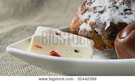 Sweet, Fruitcake, Fruit Candy On A White Plate