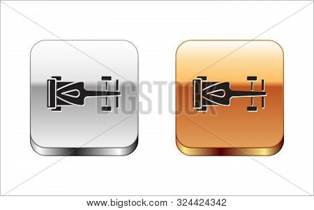 Black Formula Race Car Icon Isolated On White Background. Silver-gold Square Button. Vector Illustra