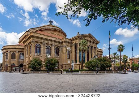 Palermo, Sicily, Italy - 09.15.2019 The Famous Opera House Theater Massimo Vittorio Emanuele In Pale