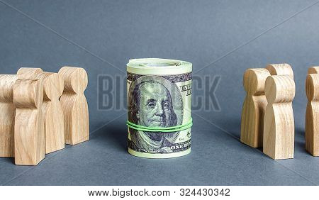 Two Groups Of People Are Divided By A Bundle Roll Dollars. The Cult Of Money, Capitalism. Financial