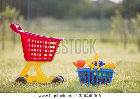 Shopping Pushcart And A Basket With Toy Fruits And Vegetables. Bright Plastic Colorful Toys For Chil