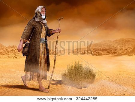 Biblical Moses Walks Through The Sinai Desert, The Wilderness, In Search Of The Promised Land, 3d Re