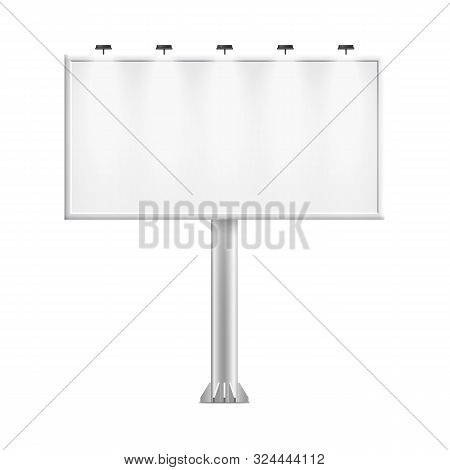 White Billboard Stand With Blank Copy Space For Big Outdoor Advertising Poster