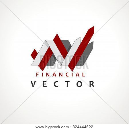 Financial Stock Exchange Market Charts Logo Design Abstract Vector Template. Finance Company Logotyp