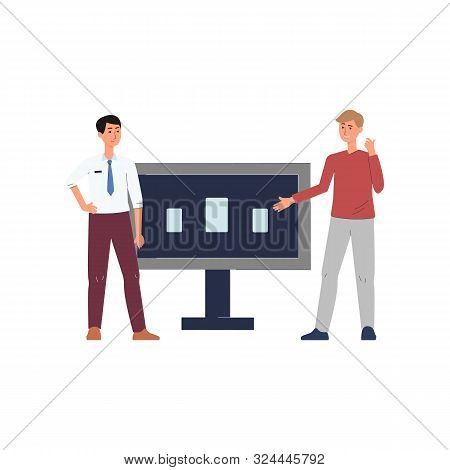 Expo Centre Customer And Vendor Near Demo Stand Flat Vector Illustration Isolated.
