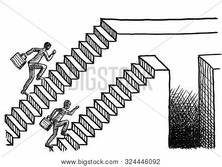 Freehand Pen Drawing Of Two Man Racing Up Two Parallel Flights Of Stairs, One Ending In A Plain Plat