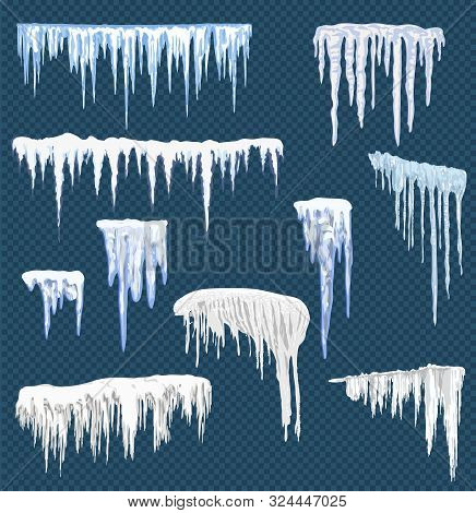 Realistic Snow Icicles. Icicle Ice With Snowcap On Top. Winter Snowing Borders For Christmas Cards D