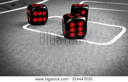 Playing Dice On A Gaming Table. Playing A Game With Dice. Red Casino Dice Rolls. Rolling The Dice Co