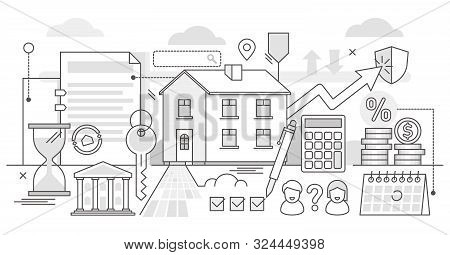 Mortgage Vector Illustration. Bw Outlined Estate Purchase Banking Process. Obligation Financial Paym
