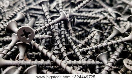 Steel Screws, Metal Screw, Iron Screw, Screws As A Background, Wood Screw. Iron Or Metal Screw Nails