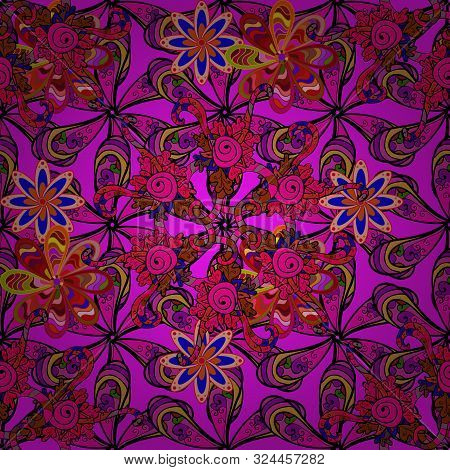 On Black, Magenta And Brown Colors. Raster Abstract Pattern Page For Antistress. Raster Illustration