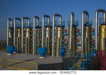 Oil, Gas Industry. Gas Valves, Crane And Pipes For Gas And Oil Transportation, Gas Processing Plant,