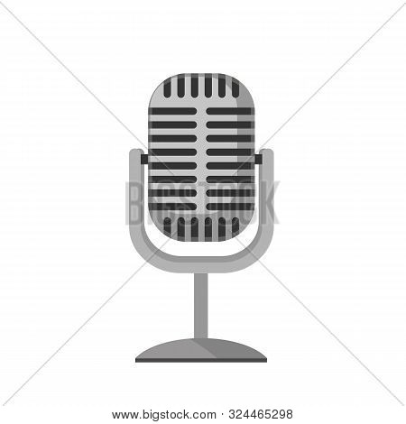 Old Mic Icon Isolated On White Background. Retro Microphone In Flat Style. Vector Stock.