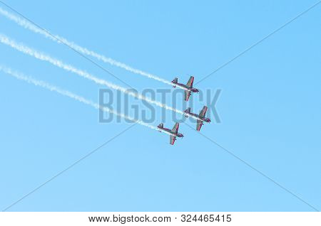 Athens Greece, September 21 2019: The Royal Jordanian Falcons Planes Performing Aerobatics On The Ai