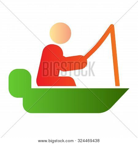 Fisher On Vessel Flat Icon. Man Cath Fish On Fishing Rod Color Icons In Trendy Flat Style. Boat With