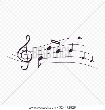 Isolated Music Notes, Musical Design Element. Background For Art Tune Or Melody In Flat Style On Tra