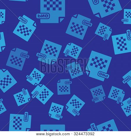 Blue Png File Document. Download Png Button Icon Isolated Seamless Pattern On Blue Background. Png F