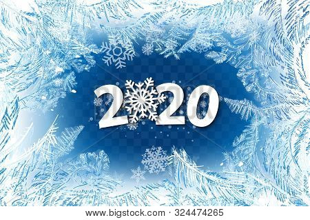 Vector Patterns Made By The Frost. Blue Winter Background For Christmas Designs. 2020 Label For Holi