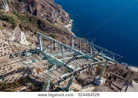 Santorini Cable Car Which Connects The Port With The Town Of Thera