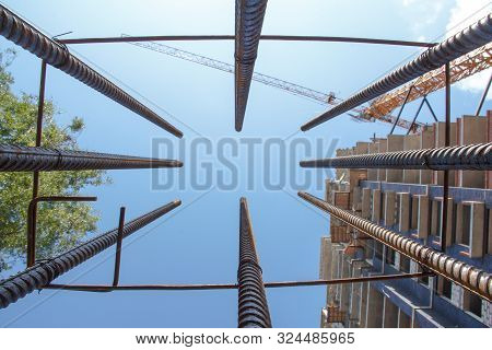 Brand new steel rebars. Preparation for pouring concrete. Construction of buildings of reinforced concrete. poster