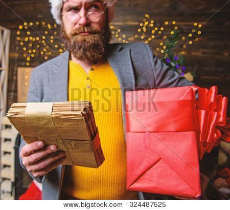 Letter For Santa Claus. Man Mature Bearded With Eyeglasses Received Post For Santa. Gifts Delivery S