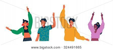 Diverse Young People Group Waving Hello And Raised Arms On Isolated White Background. Colorful Mille