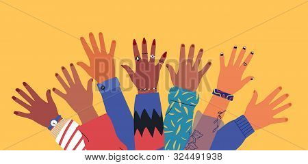 Diverse Young People Hands On Isolated Background. Teenager Hand Group With Raised Arm For Celebrati