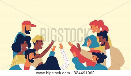 Diverse Young Adult People Group Doing High Five Together For Friendship Concept In Isolated White B