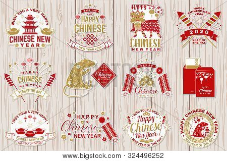 Set Of Happy Chinese New Year Sticker Design. Vector Illustration. Chinese New Year Patch Or Greetin