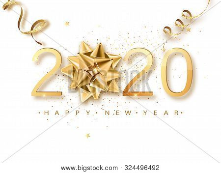 Happy New 2020 Year. Greeting Card Web Banner Or Poster With Happy New Year 2020 With Christmas Bow