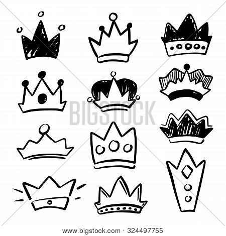 Black Crown Icon Set On White Background. Cute Crown Handdrawn Vector Illustration. Social Media Ove
