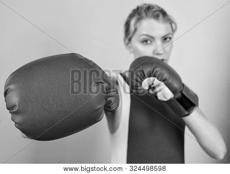 Female Rights. I Am Gonna Kick You Off. Confident In Her Boxing Skill. Boxing Improve Temper And Wil