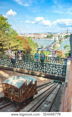 Budapest, Hungary - September 2019: Old Funicular Railway In The City Budapest Castle Hill Funicular