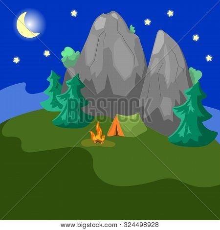 Night Landscape With Mountains, Fir Trees And Tent. Campsite By Night. One Tent On Wild Nature. Camp