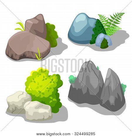 Stone And Shrub Vector Clipart For Summer Landscape On White Background. Park Or Garden Landscape Cr
