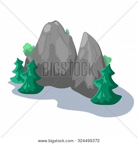 Grey Rock And Fir Trees, Vector Illustration On White Background. Tall Mountains With Firtree. Summe